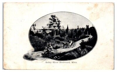 1910 Horse-Drawn Wagon on Rainy River Boulevard, Northern MN Postcard