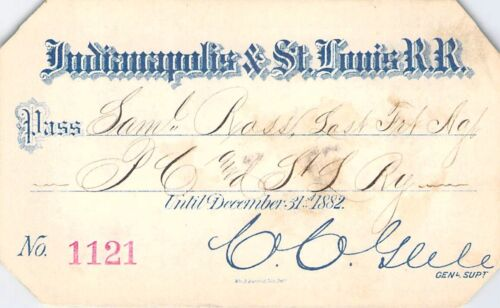 1882 INDIANAPOLIS ST LOUIS RAILROAD RAILWAY RR RWY PASS