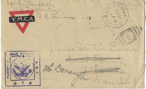 WWI SOLDIER MAIL FRANCE JUNE, 1918 325TH INFANTRY YMCA  FORWARDED WITH LETTER