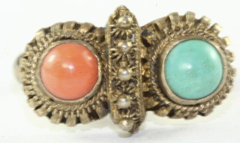 VINTAGE ANTIQUE CHINESE GILT STERLING SILVER CORAL TURQUOISE RING