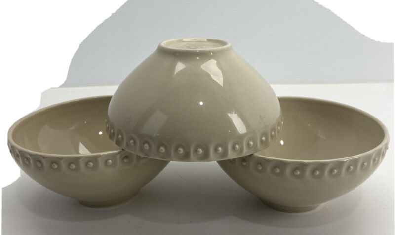 """Southern Living """"Alexa"""" Beige Cereal/Soup Bowl, Set of 3, Rare & Retired"""