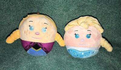 "Disney Frozen Lot Of 2 ANA & ELSA Hallmark 4"" FluffBalls Soft Stuffed Plush Toy"
