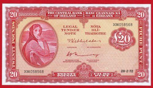 Rare, UNC, IRELAND - 20 Pounds, 1972, Lady Lavery.