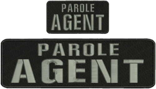 Parole Agent embroidery patch 3x10 and 2x4 hook grey