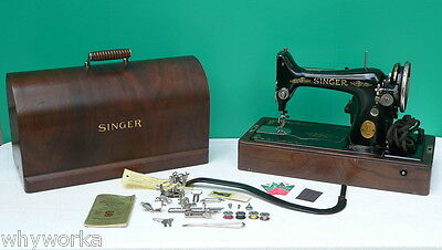 WORKING Antique 1926 Singer Model 99 Portable Knee Lever Sewing Machine w box