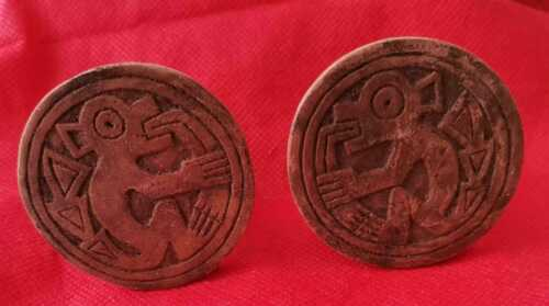 Authentic Interesting Pre-Columbian PAIR WOOD EAR SPOOLS CHIMU Culture c1300 AD