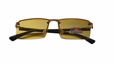 Polarisiert Nacht Fahrbrille Super-Lite Blendfreie HD Halber Rahmen Unisex 1036