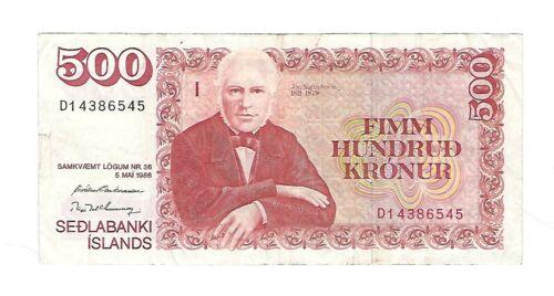 Iceland - 1986, Five Hundred (500) Kronur