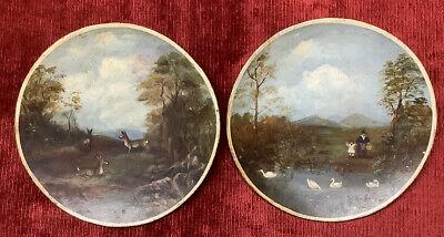 18th Century Hand Painted On Metal Tole Ware Folk Art Animal / Landscape Scenes.