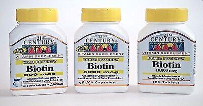 21St Century Biotin 800Mcg  5000Mcg  10000Mcg