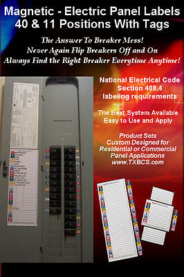Magnetic and Color-Coded 40 & 11 Circuit Breaker Box Electric Panel Label Sets