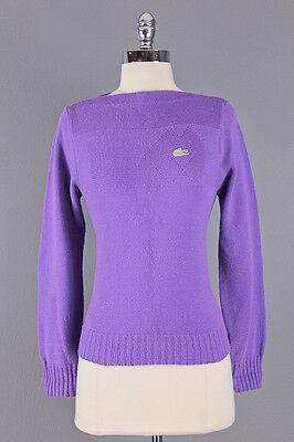 Vtg 70S Preppy  Haymaker Lacoste  Knit Grape Purple Pullover Knit Sweater Xs S
