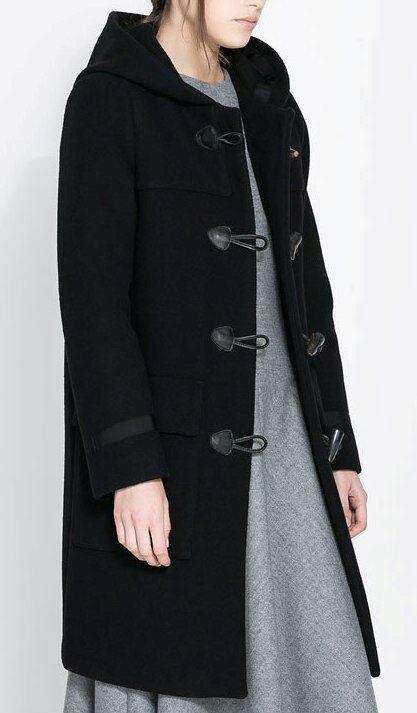 Manteau duffle coat noir laine avec capuche zara studio taille m