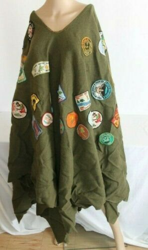 Vintage 1970s 1980s Boy Scout Poncho Wool > 60 Patches Indiana Michigan Kentucky