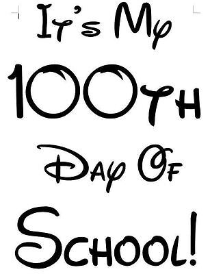 It's My 100th Day of School Iron On T Shirt Pillowcase Fabric Transfer #1 - 100 Day Of School