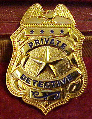 Early Private Detective Badge 10K Gold Plate As Seen In Old Detective Magazines