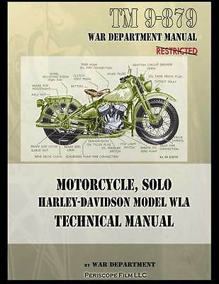 WWII HARLEY DAVIDSON MOTORCYCLE MODEL WLA TECHNICAL MANUAL BOOK TM 9-879