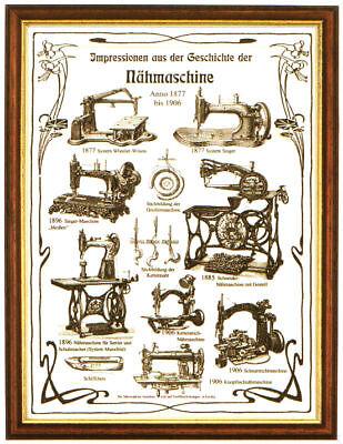 Plakat: Geschichte der Nähmaschinen, Nähmaschine, Nähen