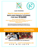 FREE TRIAL SESSION- MATH AND FRENCH TUTORING FOR ONLY $15/HR!
