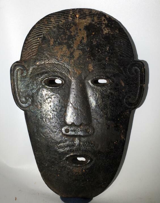 Neolithic Age China old hongshan culture black magnet Meteorite carved Mask