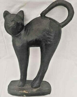 Vtg Antique Large German Paper Mache Black Cat Witch Occult Halloween - German Paper Mache Halloween