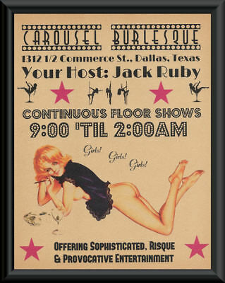 Jack Ruby Carousel Club Flyer Reprint On Old Paper JFK Assassination *160