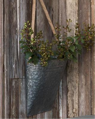 Galvanized Wall Pocket Farmhouse Metal Picking Basket, Hanging Wall Planter