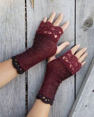 Handmade Knit Wool Fingerless Womens Gloves Crochet Edges marsala, chocolate