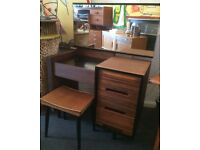 1960s Stag C Range Dressing Table/Desk in Walnut and Oak, with Stool. Vintage/Retro/Mid Century