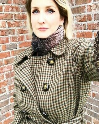 Antonio Melani Double Breasted Wool Blend Plaid Trench Coat