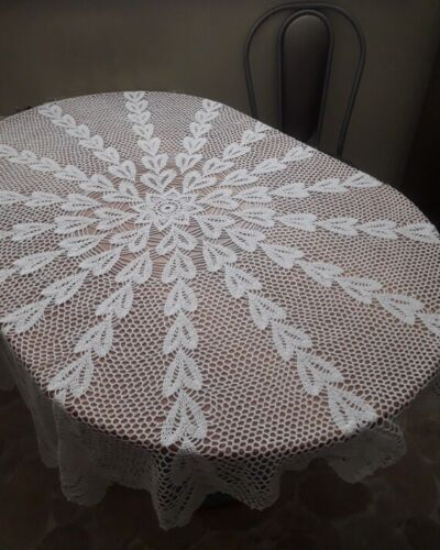 Big tablecloth Handmade crocheted tablecloth White round tablecloth Birthday