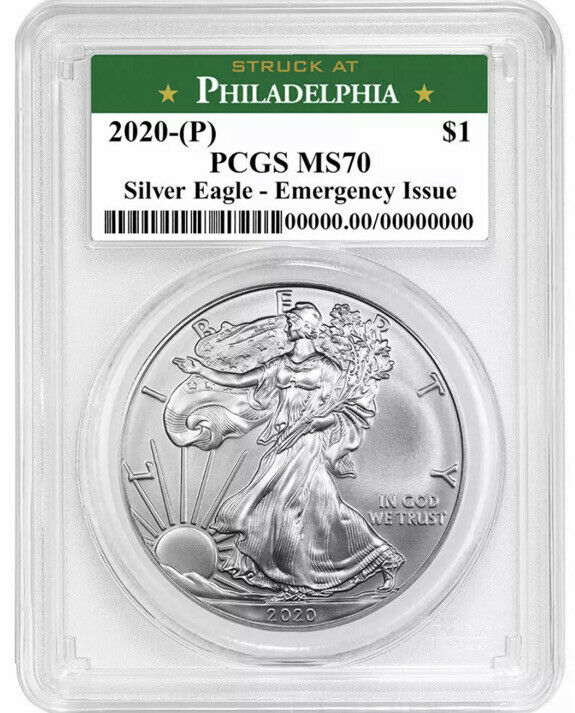 2020 (P) $1 American Silver Eagle PCGS MS70 Emergency Issue Philadelphia Label!