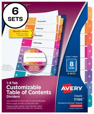 6 Sets Of Avery 11186 Binder Page Dividers 8 Numeric Multicolor Tabs 3-hole