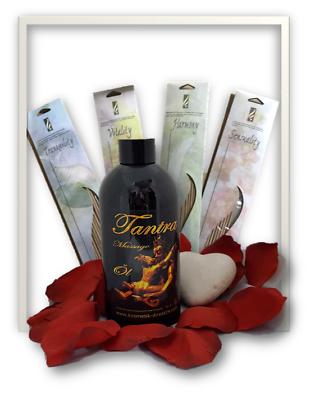 Tantra Massageöl 500 ml Geschenkset mit 80 Räucherstäbchen Rosenblätter Buddha