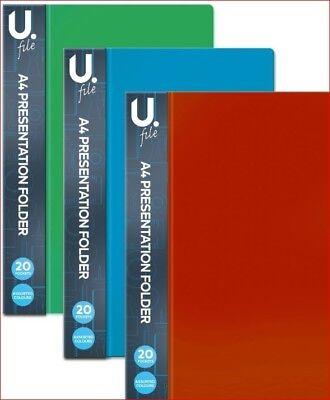 A4 Presentation Folder - Assorted Colours - 20 Pockets
