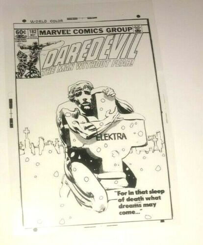 Daredevil Men Without Fear Blanc Noir Gothic Scary Cover Production Art Acetate