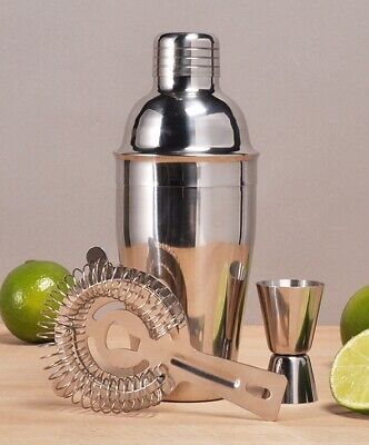 Cocktail-Mixer-Set 3-teilig Shaker Messbecher Barsieb aus glänzendem Edelstahl (Messbecher Sieb)