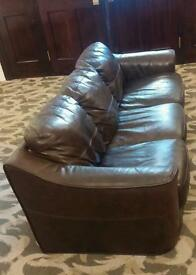 Leather 3 seater brown sofa. Good condition