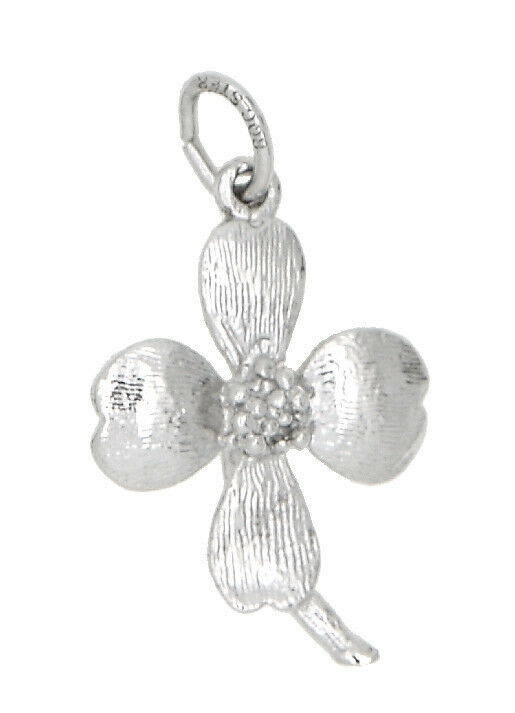 SILVER ONE SIDED DOGWOOD FLOWER CHARM OR PENDANT