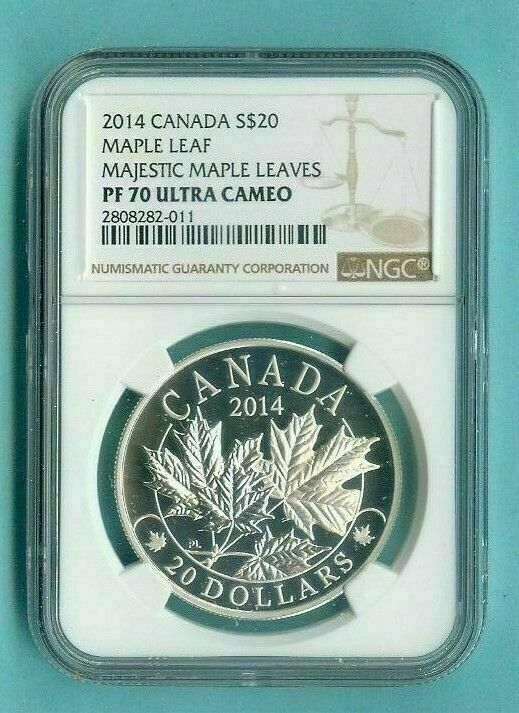 2014 CANADA $20 SILVER MAJESTIC MAPLE LEAVES - NGC PF70 UC w ALL PACKAGING