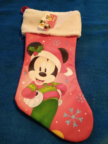 "Disney Mickey Mouse 16"" Red CHRISTMAS STOCKING NWT"