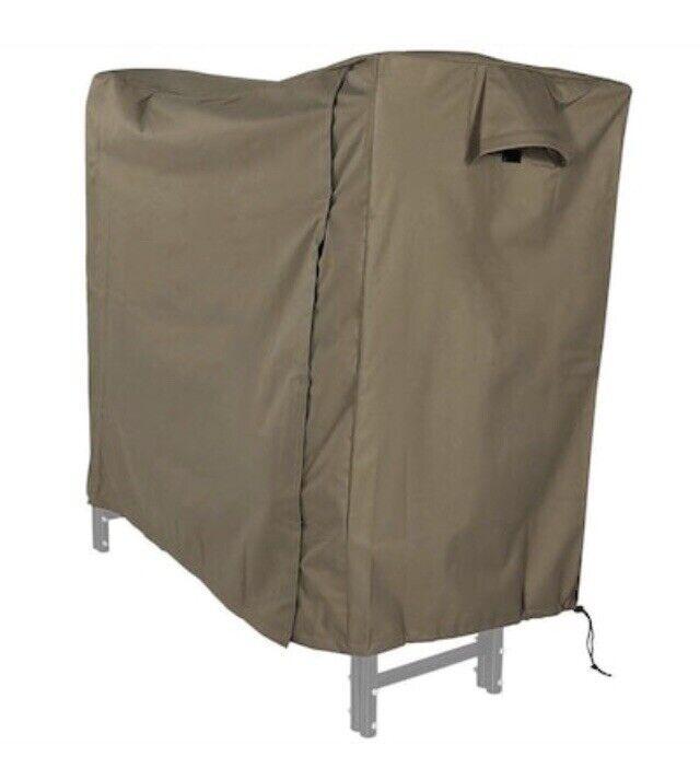Sunnydaze Log Rack Cover - Heavy-Duty Polyester with PVC Backing - Khaki - 4