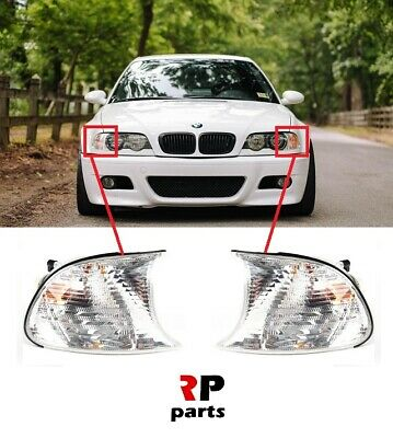 FOR BMW 3 E46 COUPE CABRIO 02-03 FRONT FENDER SIDE INDICATOR LAMP WHITE PAIR SET