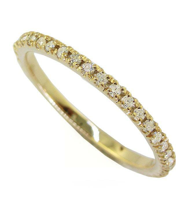 Eternity Stackable Wedding Ring SI1 G Round Diamond 0.55 Ct Yellow Gold Pave Set