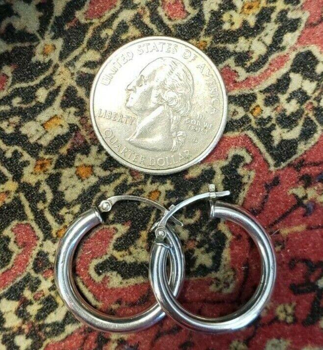 Vintage 925 Sterling Silver 1 Inch Small Hoop Earrings