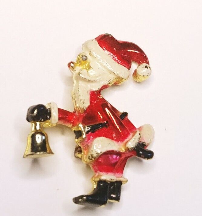 🎅 Vintage Santa Claus With Bell Gold Tone And Enamel Brooch Pin