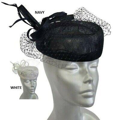 Navy Derby Hat (Navy or White Net Bow straw Sinamay Pillbox Fascinator Dressy Derby Wedding)