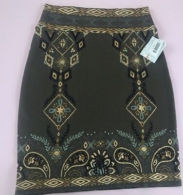 NWT LuLaRoe Cassie Large Elegant Olive Black Gold Foil Floral Paisley Skirt - Gold Foil Skirt