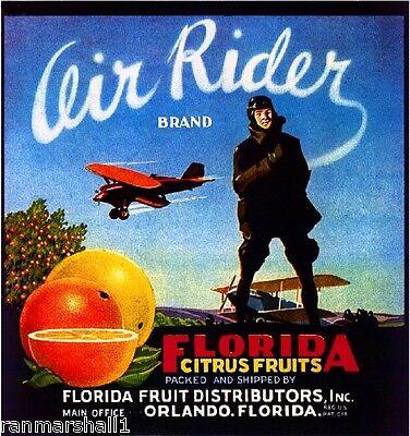 Orlando Florida Air Rider Airplane Orange Citrus Fruit Crate Label Art Print