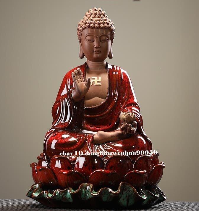 Chinese Porcelain Handwork Temple Sakyamuni Shakyamuni Amitabha Buddha Statue